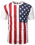 URBANCREWS Mens Hipster Hip Hop Vertical USA Flag Crewneck T-Shirt WHITE MEDIUM