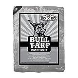 Bull-Tarp Super Heavy Duty, Silver/Black, Waterproof, Tent Shelter, Tarpaulin, Fire Wood Cover, Multi-Purpose Heavy Duty Poly Tarp, Reinforced Grommets Every 18'' (20X20)