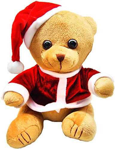 Christmas Themed Plush Teddy Bear Toy Novelty Dressed in Red With Santa Hat (Christmas Bear Dressed Teddy)