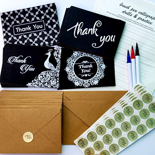 Thank You Cards - 368 Pack Bulk Box Set with Envelopes Stickers & 3 BONUS Calligraphy Pens; 4 Assorted Designs, Perfect Blank Notes for Christmas, Birthday, Wedding, Business, Baby Shower & Holidays