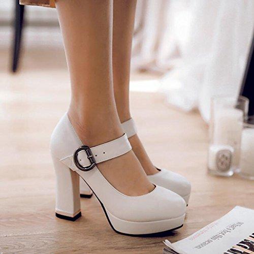 Caoutchouc Femelle Hauts Femmes Upper Bouche Blanc Talon Épais Chaussures Loisir Pour Semelle À Peu En Printemps Escarpins Talons Profonde Pu qfwxUOXnzX