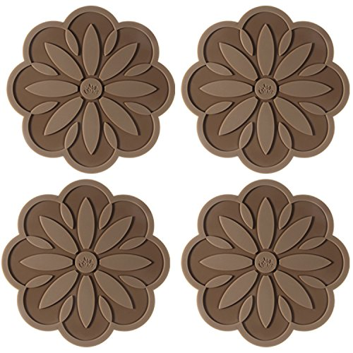 - ME.FAN Silicone Trivet Mat [4 Set] Centaury Pot Holders, Hot Pads, Jar Opener, Spoon Rest & Coasters Heat Resistant Non Slip Flexible & Durable(6.3''×6.3'') -Coffee