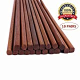 Reusable Chinese Wooden Chopsticks,Pack of 10, Natural Health,Smooth Surface, Premium Material, 9.8-inch Long,Brown