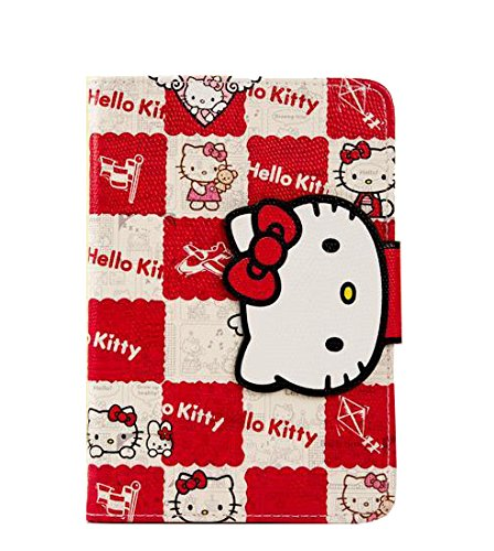 Stand Case Cover Hello Kitty Themed PU cover for iPad6/air2 Light Weight Wallet Style Cover Skin With Card Slots