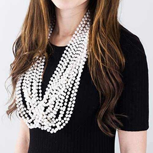 Flapper Beads White Beaded Necklace Bridal Shower Necklaces By Funny Party Hats Bulk Party Favors 24 Pk Costume Beads