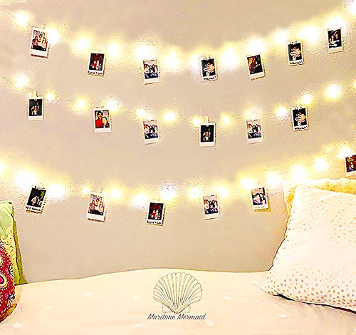 Maritime Mermaid 20 LED Photo Clips String Lights Battery Operated (Warm White) Fairy String Lights Party's Home Weddings Displays Cards Great Gifts. Hanging Photos Adjustable Clips by Maritime Mermaid