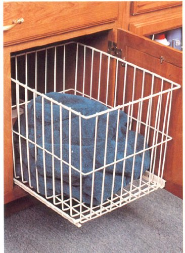 Knape & Vogt KV Roll Out Wire Hamper White Small Narrow