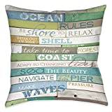 18-inch Blue Brown Ocean Rules Cabin Throw Pillow, Polyester Bright Colored Cottage Themed Beach Sea Water Front Swimming FIshing Pacific Atlantic Rectangular Kitchen Entryway Accent Carpet