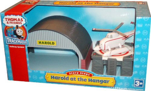 (Thomas and Friends Trackmaster Railway System Story Stops Playset - Harold at the Hangar with Heliport Hangar, Helicopter Landing Pad and Harold the Helicopter)