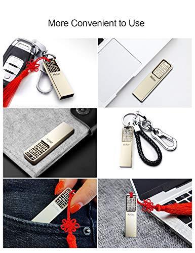 Netac 32GB USB Flash Drive, Flash Drive USB 2.0, Chinese Hollow & Knot Design Memory Stick, Flash Drive Gold Metal Housing Body - U327