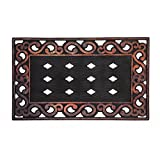 Evergreen Variegated Scroll Sassafrass Decorative Floor Mat Insert Frame, 30 x 18 inches