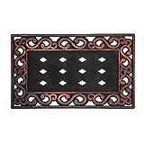 Evergreen Variegated Scroll Sassafrass Decorative Floor Mat Insert Frame, 30 x 18 inches