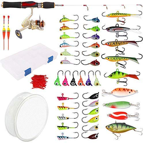Dr.Fish Ice Fishing Rod Reel Combo Complete Kits Box Ice Jig Rap Shad Spoon Catch Ready