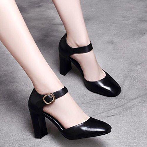 des Creux Épais Femme talons Chaussures Nouvelle 2018 EU36 Baotou Mouth Été Avec Européenne CN35 MuMa Chaussures hauts à Noir Shallow UK3 5 simples Sandales Chaussures taille wExT6