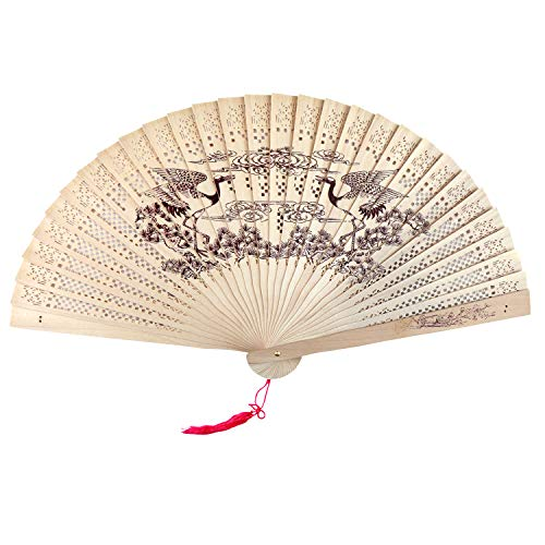 SPG Sandalwood Scented Wooden Folding Fan Hand-Crafted Japanese/Chinese Vintage Style or Wedding Decoration, Birthdays, Home Gifts -
