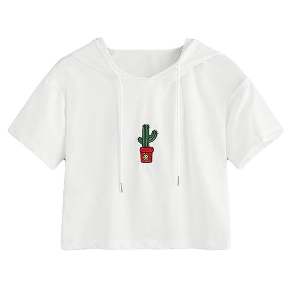 CICIYONER Blusa con capucha de manga corta Blusa con bordado de cactus de moda Blusa Tops: Amazon.es: Ropa y accesorios