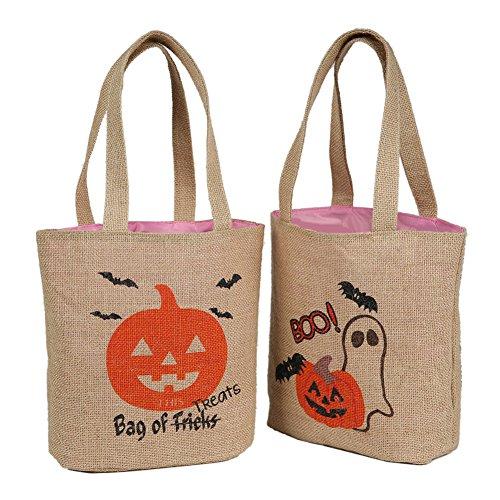 E-FirstFeeling Halloween Bags Pack of 2 Trick or Treat Bags Jute Halloween Basket Candy Gift Tote Bag (2 Pack Jute)