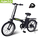 NAKTO 20' 250W Foldaway Electric Bike Sport Mountain Bicycle with Lithium Battery