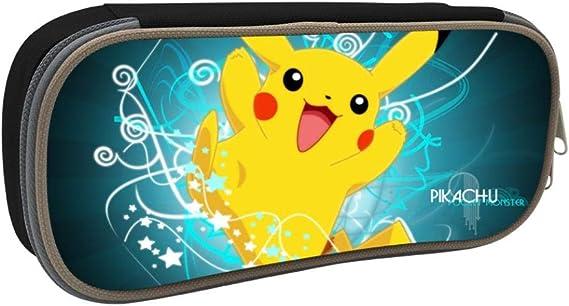 Anime Pokemon Pikachu - Estuche escolar para estudiantes, diseño de Pikachu, negro, ONE_SIZE: Amazon.es: Amazon.es