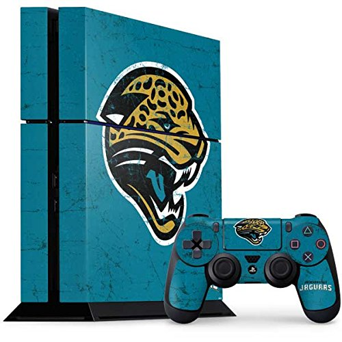 Skinit NFL Jacksonville Jaguars PS4 Console and Controller Bundle Skin - Jacksonville Jaguars Distressed Design - Ultra Thin, Lightweight Vinyl Decal Protection