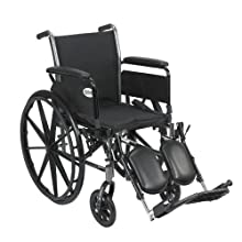 Drive Medical Cruiser III Light Weight Wheelchair with Various Flip Back Arm Styles and Front Rigging Options, Flip Back Removable Full Arms/Elevating Leg Rests, Black, 20 Inch