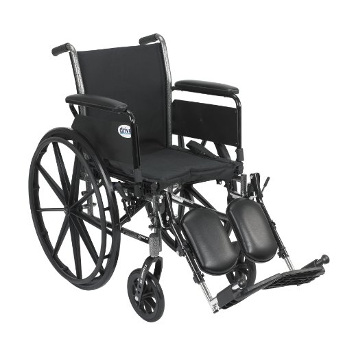 Drive Medical Cruiser III Light Weight Wheelchair with Various Flip Back Arm Styles and Front Rigging Options, Black, 18