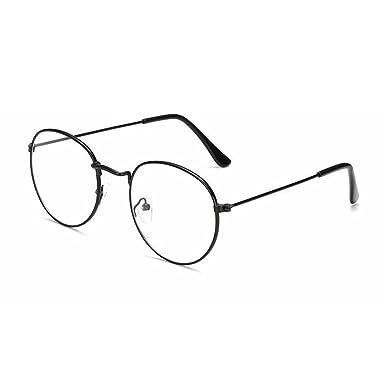 5b24b85547 Mositto Women Men Classic Frame Round Clear Lens Glasses Vintage Style Metal  Fram (Black)