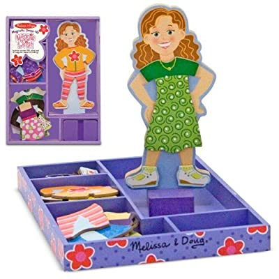 Melissa & Doug Maggie Leigh - Magnetic Dress Up Wooden Doll & Stand & 1 Scratch Art Mini-Pad Bundle (03552): Toys & Games