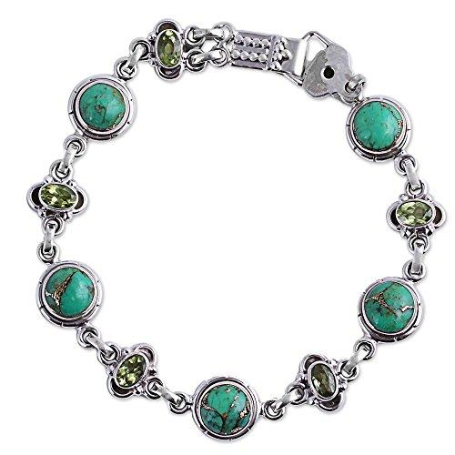 (NOVICA Multi-Gem Reconstituted Turquoise .925 Sterling Silver Link Bracelet,7.75