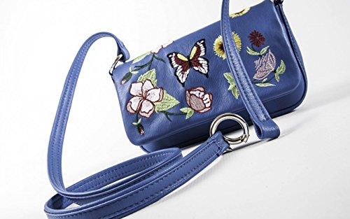 Fiorella - Blu Cobalto - Pochette con tracolla regolabile e removibile in vera pelle ricamata - PassioneBags - Made in Italy