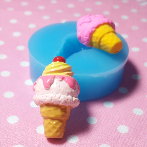 010LBX Cherry Ice Cream with Cone Silicone Mold for Cake Cookie Phone CellPhone Decorating Chocolate Soap Epoxy Clay Fimo Clay ()