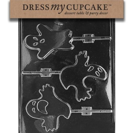 Dress My Cupcake DMCH030 Chocolate Candy Mold, Ghost Lollipop 3 Different, Halloween for $<!--$3.70-->