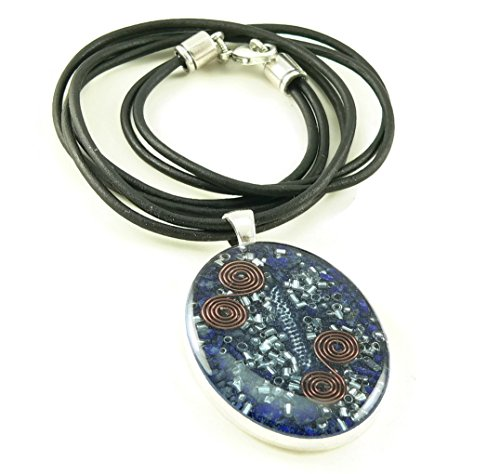 Orgone Energy Large Oval Necklace in Silver Finish with Lapis