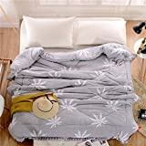 Polyester bed/bedding Warmth Full/Queen/Full/Twin Size Comforter Duvet Insert,Hypoallergenic Box Stitched,Spring And Autumn Quilt,Maple Leaf-Gray,150×200cm(2Kg)