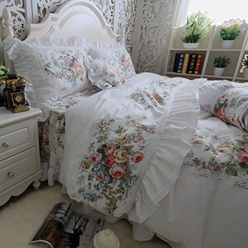 バラの花柄とラッフルフリルデザイン アンティーク風ホワイトベッドカバーセット