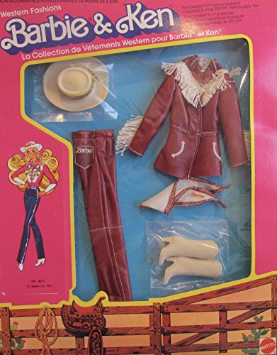 BARBIE & Ken 'WESTERN ELEGANCE' FASHIONS w 'Fringed' LEATHER-Like JACKET, LEATHER-Like PANTS, Cowgirl BOOTS, & More! (1981 Mattel Hawthorne) - Barbie And Ken Box Costume