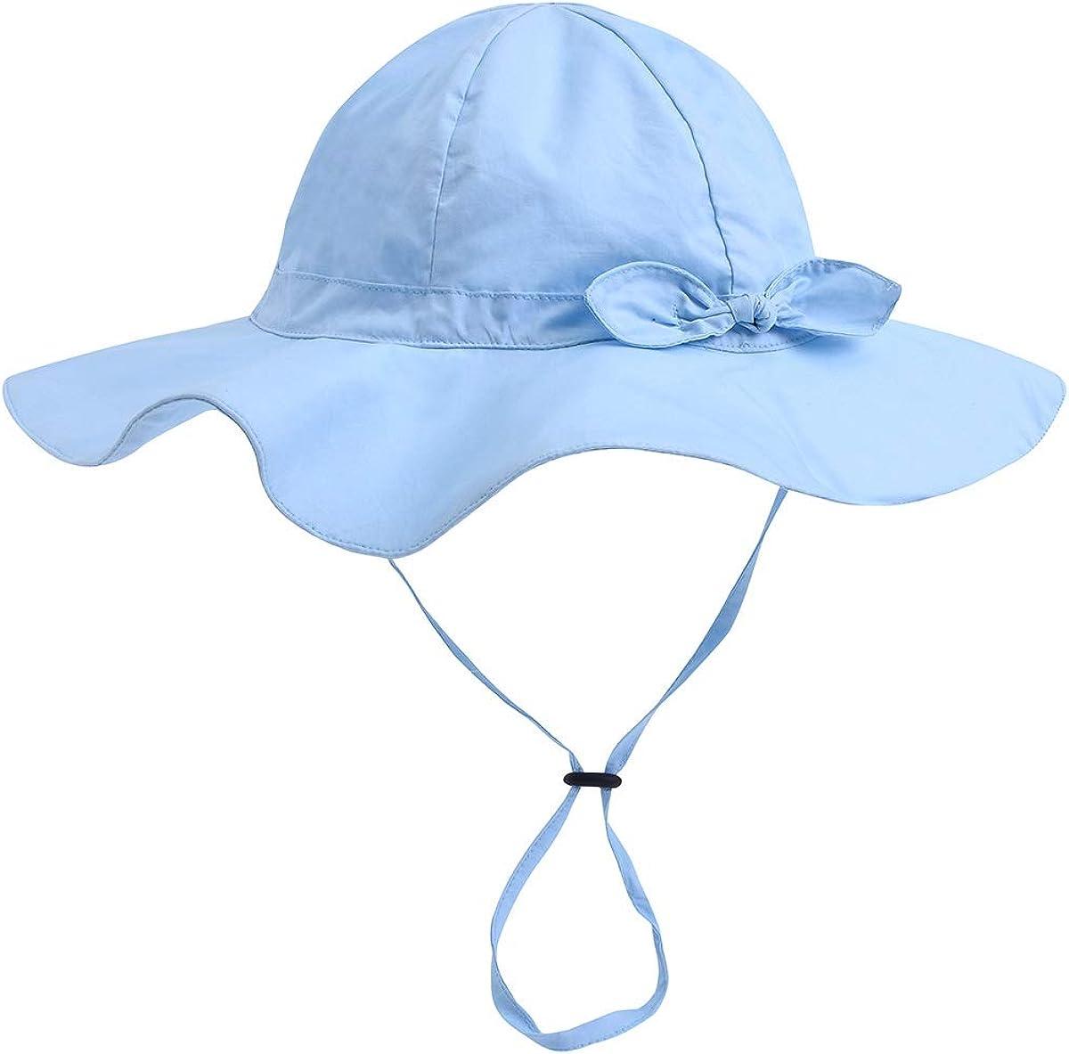 Eurobuy Cappello da sole per beb/è cappello da sole di bowknot Cappello da sole regolabile in tinta unita UPF 50 per lescursione allaperto in spiaggia