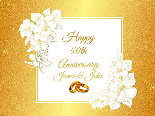 [Custom Golden 50th Years Wedding Anniversary Flowers Gold Party Poster Wedding Rings- sizes 36x24, 48x24, 48x36; Personalized Wedding Anniversary Home Decorations, Handmade Party] (Customs For Halloween Ideas)