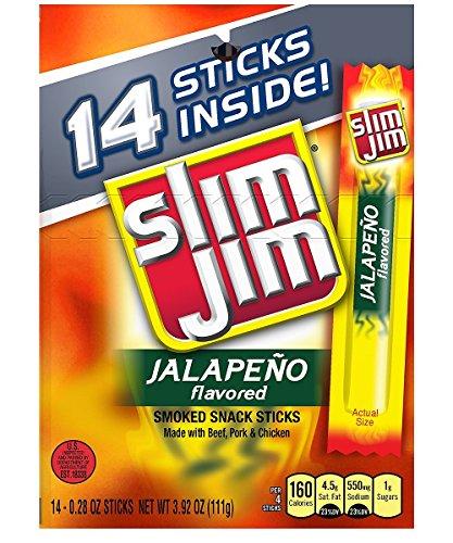 Slim Jim Smoked Meat Sticks, Jalapeño, 0.28 Oz., 14-Count