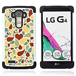 GIFT CHOICE / Defensor Cubierta de protección completa Flexible TPU Silicona + Duro PC Estuche protector Cáscara Funda Caso / Combo Case for LG G4 // Love Heart Pattern //