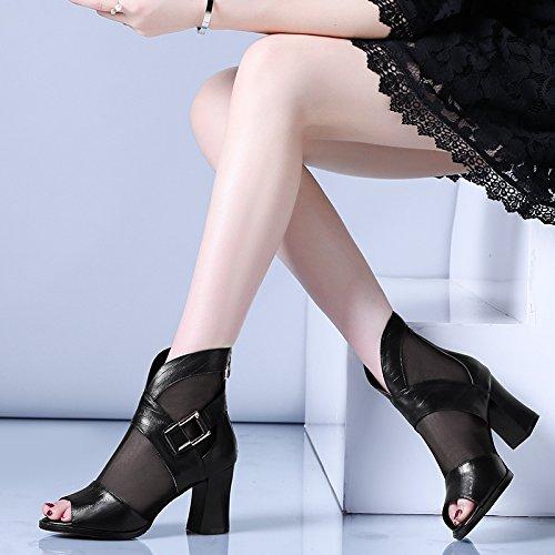 Avec Exposées Fil À Bottes Chaussures Le 2 Cool Eu34 12 Bouche Un Femme Shoeshaoge uk2 Talons De Sandales Femmes Hauts Poisson 68qB5