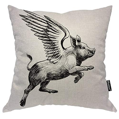 Moslion Pig Throw Pillow Case Black White Ink Vintage Flying Piggy with Wings to The Sky Pillow Cover Decorative Square Accent Cotton Linen 20x20 Inch for Sofa -