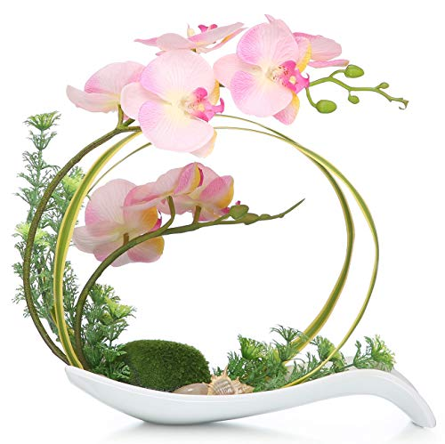 NNEE Artificial Phalaenopsis Orchid/Silk Flower Arrangement with Decorative Flower Pot - Pink Orchild A323 -