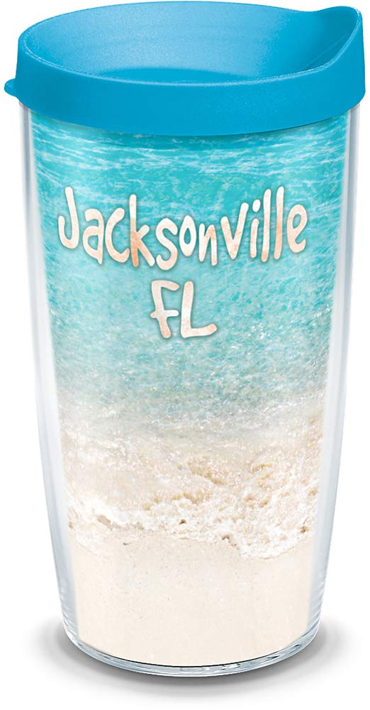 Tervis 1198195 Florida - Tropical Jacksonville Beach Insulated Tumbler with Wrap and Turquoise Lid 24oz Clear