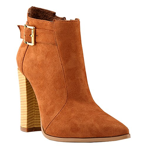 Fereshte Womens Fashion Simple Block Heel Zipper Knight Boots Brown PJ5hNhQ
