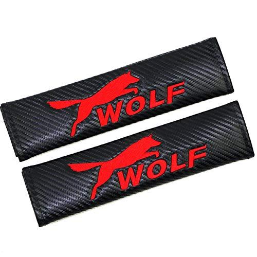 (GANGJIANLAN 2pcs car Carbon Fiber Car Seat Belt Shoulders Pad Truck Cover (Wolf))