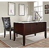 Monarch Marble Top Desk and Parsons Chair White Marble Veneer Top/Dark Cherry Veneer Base/Black Vinyl Weight: 214 lbs