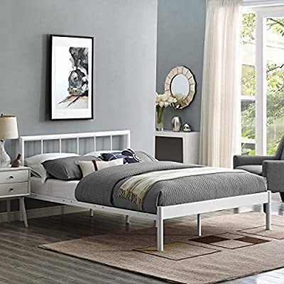 Modway Gwen Bed Frame, Full, White - Bedroom update - instantly refresh a guest room, kid's or teen's room with this platform bed frame. The modern Farmhouse style of Gwen's metal headboard is the ideal backdrop for bedding of all kinds Contemporary style - modern in form with rustic and Vintage accents, the conceptually Simple design and clean Lines on Gwen make this platform bed frame a seamless addition to any Bedroom Décor Sturdy mattress foundation - extend the life of a variety of mattress types, including memory foam, Latex, Hybrid, and Spring, thanks to the Sturdy, supportive slats and reinforced center beam - bedroom-furniture, bed-frames, bedroom - 51bOVsC2oJL. SS400  -