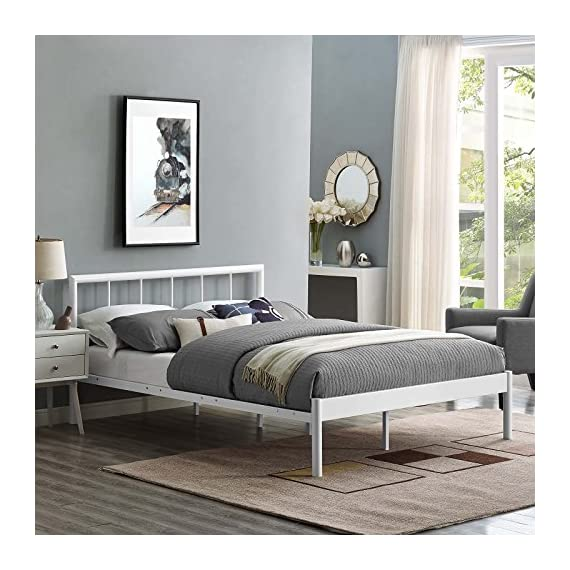 Modway Gwen Bed Frame, Full, White - Bedroom update - instantly refresh a guest room, kid's or teen's room with this platform bed frame. The modern Farmhouse style of Gwen's metal headboard is the ideal backdrop for bedding of all kinds Contemporary style - modern in form with rustic and Vintage accents, the conceptually Simple design and clean Lines on Gwen make this platform bed frame a seamless addition to any Bedroom Décor Sturdy mattress foundation - extend the life of a variety of mattress types, including memory foam, Latex, Hybrid, and Spring, thanks to the Sturdy, supportive slats and reinforced center beam - bedroom-furniture, bedroom, bed-frames - 51bOVsC2oJL. SS570  -
