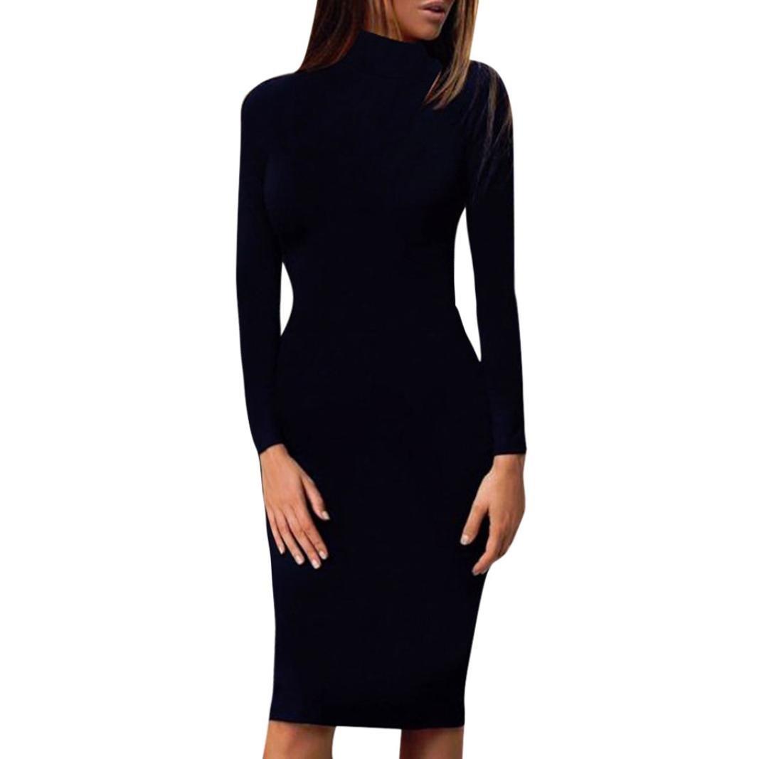 f3aa369642920 Gotd Women's Work Wear Dresses Casual Long Sleeve Knee-Length Dress Loose  Party Dress Autumn Winter (M, Black)